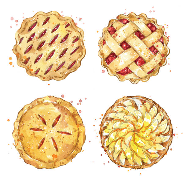 set of home made pies, watercolour illustration - nadziewany placek stock illustrations
