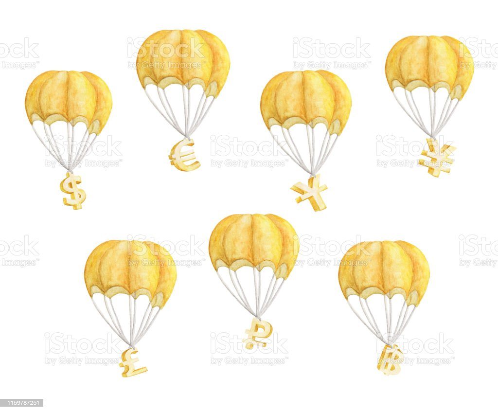 Set of Hot air balloon with currency symbols. Golden Dollar, Euro,...