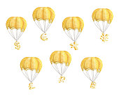 Set of Hot air balloon with currency symbols. Watercolor illustration.