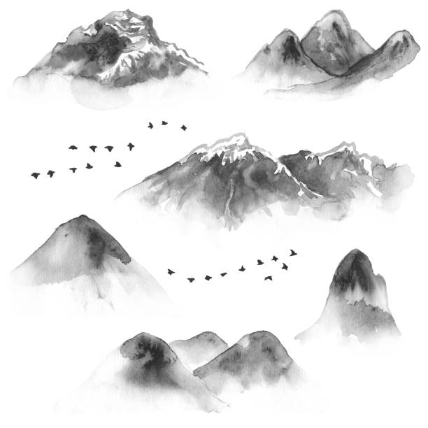 set of ink mountains and flying birds - black and white mountain stock illustrations, clip art, cartoons, & icons