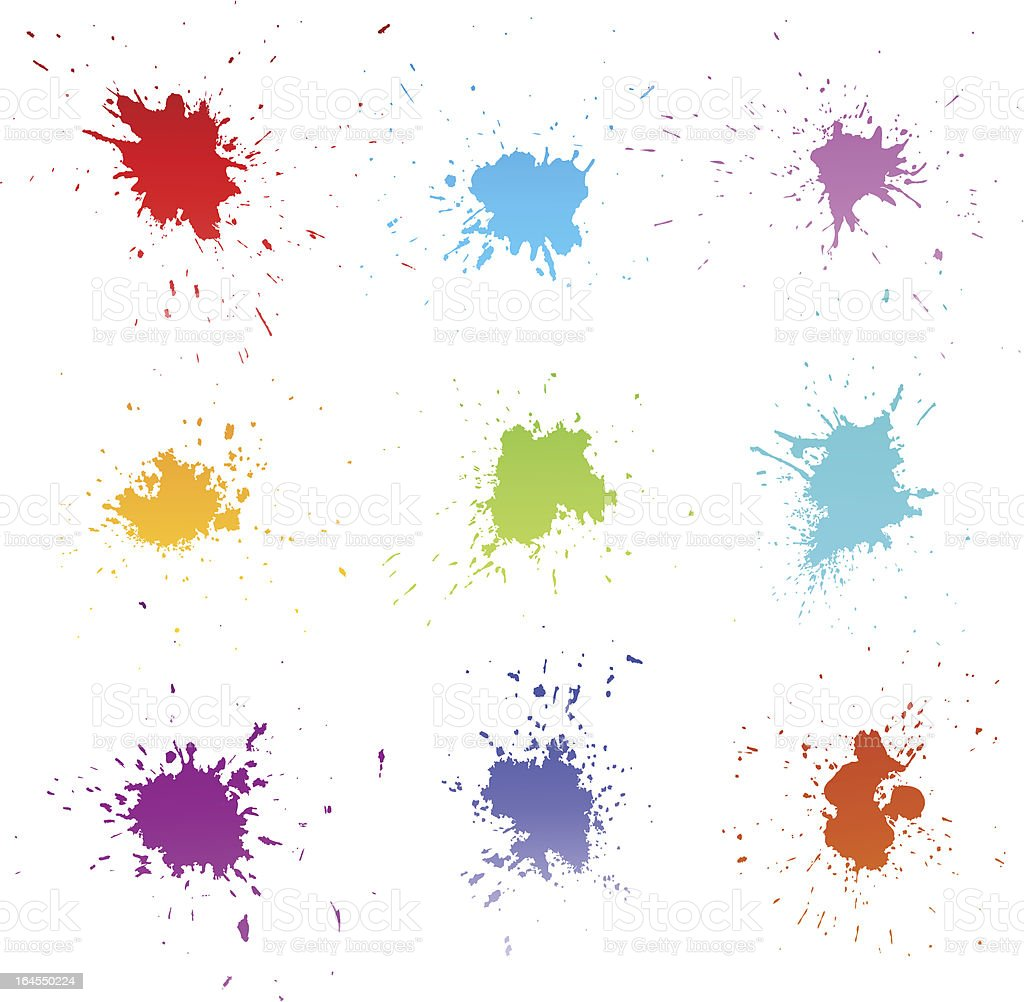 Set of ink splashes royalty-free stock vector art