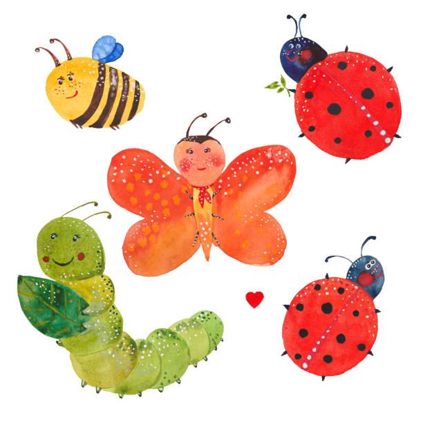 stockillustraties, clipart, cartoons en iconen met set van insecten - rups