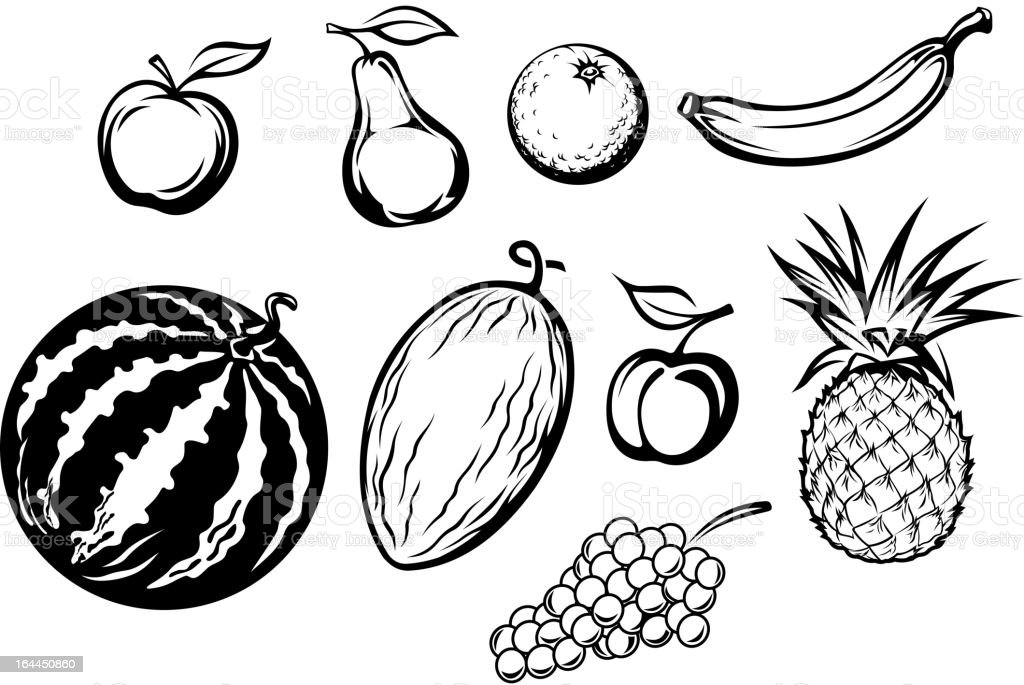 Set of isolated fresh fruits royalty-free stock vector art