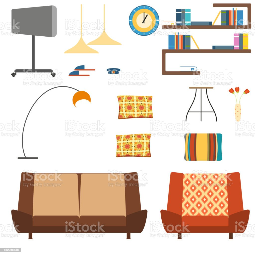 Set Of Isolated Interior Objects In The Style Of The 70s Stock ...