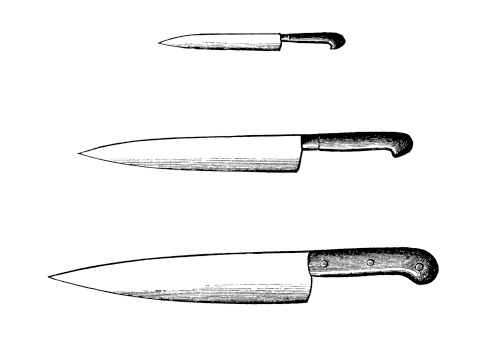 Set of Kitchen Knives   Antique Culinary Illustrations