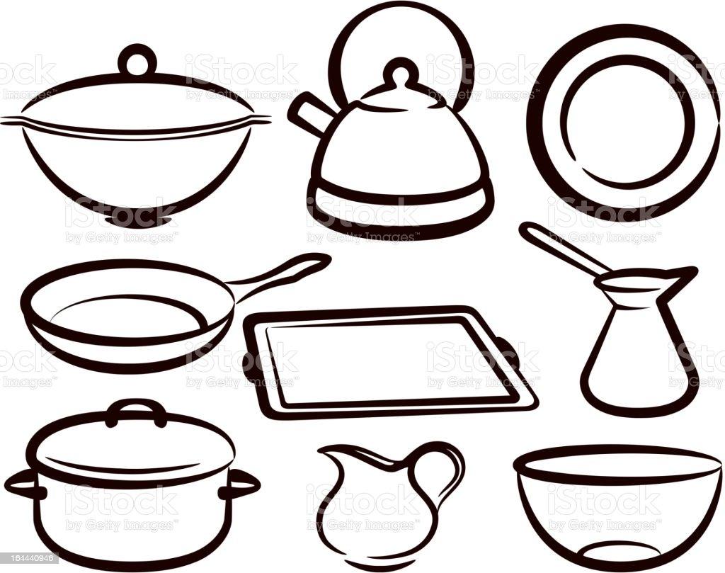 set of kitchen utensil vector art illustration