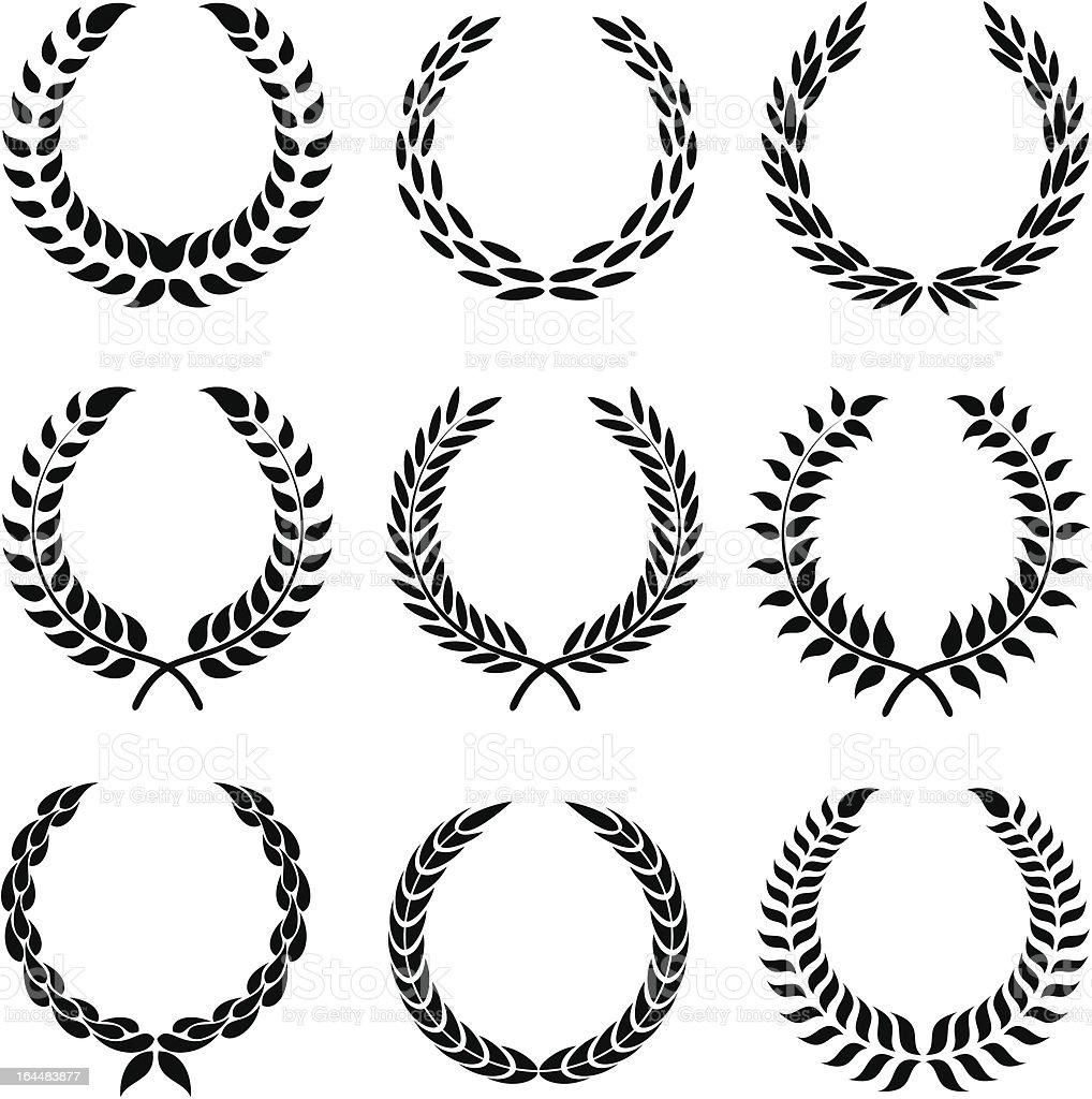 set of laurel wreaths vector art illustration