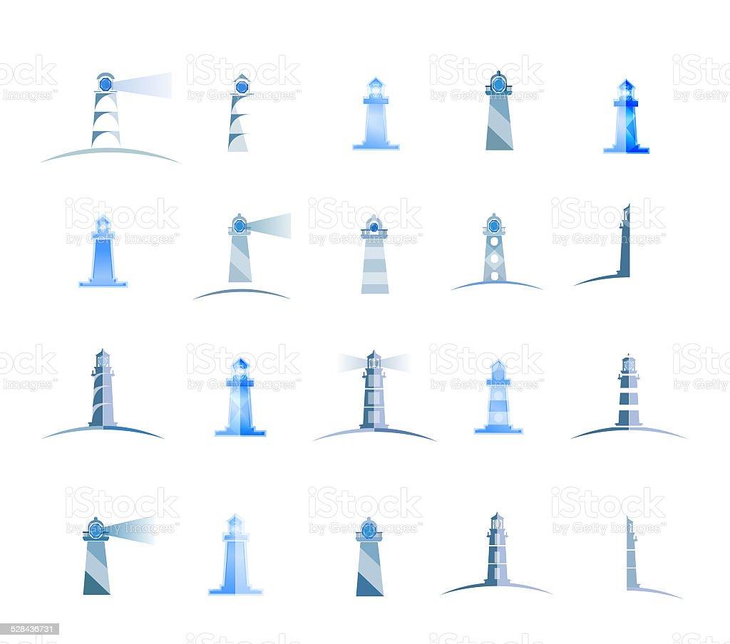 set of lighthouses vector art illustration