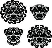 set of lion snouts