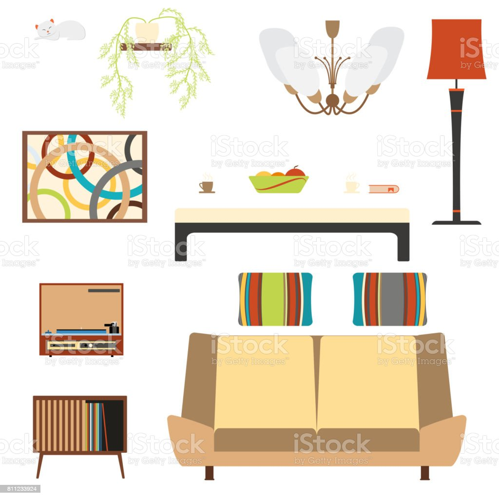 Set Of Living Room Interior Objects With Sofa And Player In The ...
