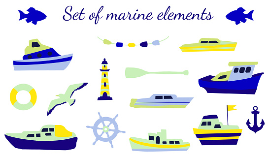 Set of marine elements in blue-yellow colors on a white background