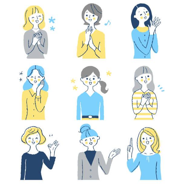 笑顔の表情をした中年女性のセット - 女性会社員点のイラスト素材/クリップアート素材/マンガ素材/アイコン素材