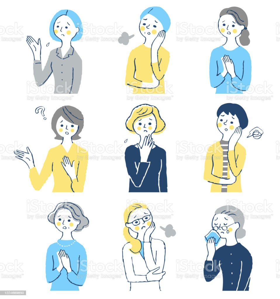 A set of middle-aged women with a troubled expression - Royalty-free 30-39 Anos Ilustração de stock