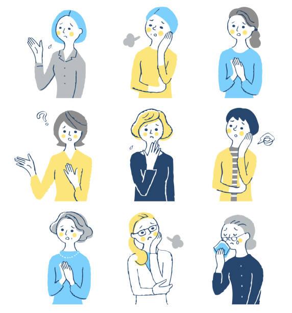 ilustrações de stock, clip art, desenhos animados e ícones de a set of middle-aged women with a troubled expression - da cintura para cima