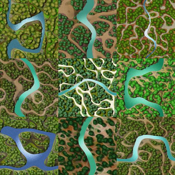 Set of mini landscape seamless generated backgrounds vector art illustration