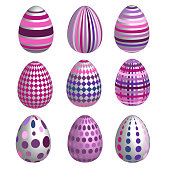 Set of multicolor easter eggs with different texture. Purple and pink color. Isolated on a white background.