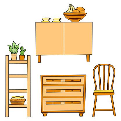 A set of natural interior wooden furniture