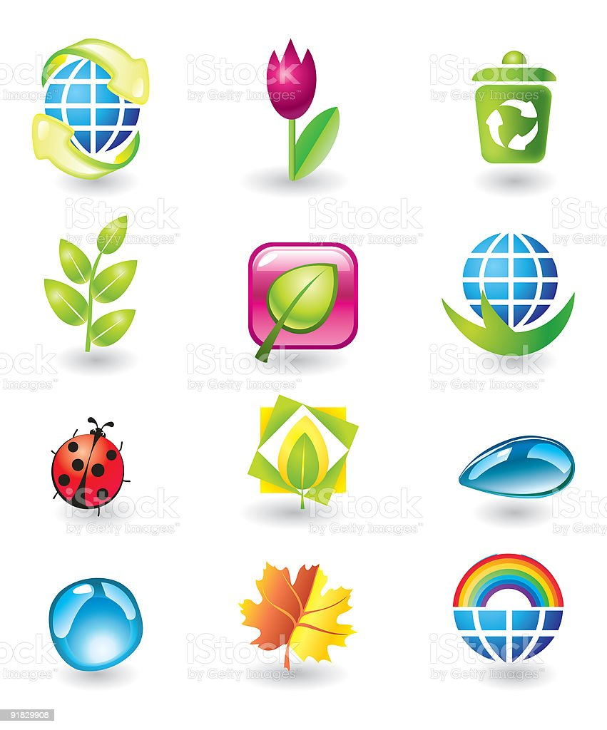 Set of nature design elements royalty-free set of nature design elements stock vector art & more images of climate