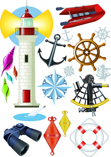 set of nautical elements vector art illustration