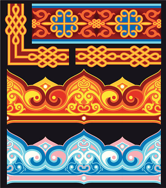 set-of-oriental-ornaments-and-border-ill