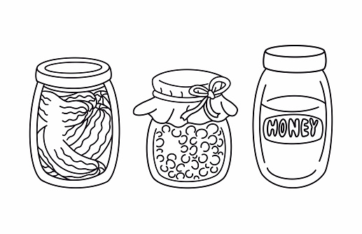 Set of outline glass jar of jam, honey and pickles. Natural food, preserve product. Line art elements isolated, coloring book page