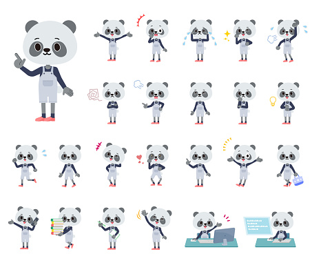 A set of Panda boy with who express various emotions