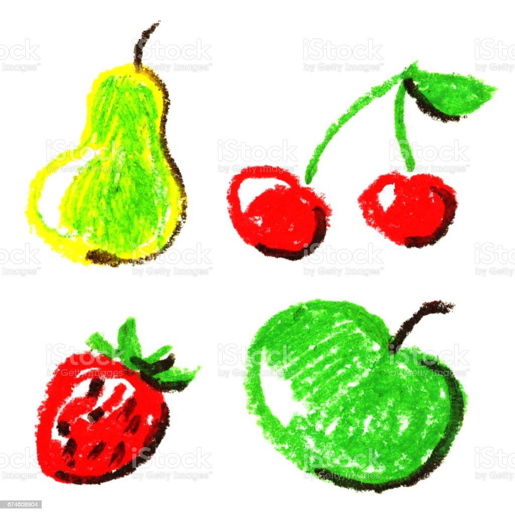Pastel Tebeşirler Sulu Meyve çizim Kümesi Armut Kiraz Elma Ve çilek