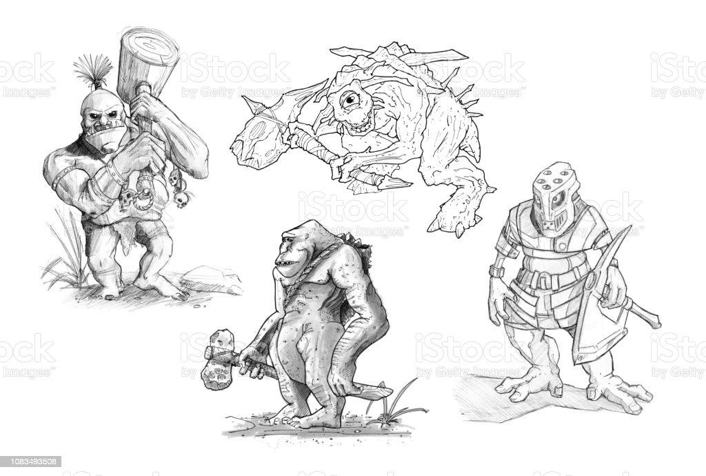 Ilustración De Set De Lápiz O Tinta Dibujos De Varios Monstruos De