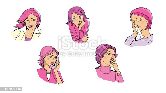 Set of pictures depicting the emotions of a woman: Joy, happiness, fear, horror, pain,  sadness, boredom. Pop art. Comic book style.
