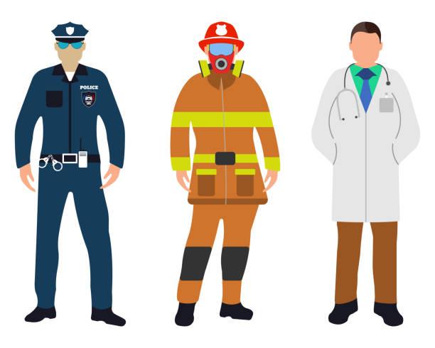 Set of Policeman, Doctor, Fireman flat icons. Service 911. Set of Policeman, Doctor, Fireman flat icons. Service 911. Cartoon Vector illustration. police meeting stock illustrations