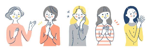 ilustrações de stock, clip art, desenhos animados e ícones de a set of positive facial expressions of various women - mão no peito
