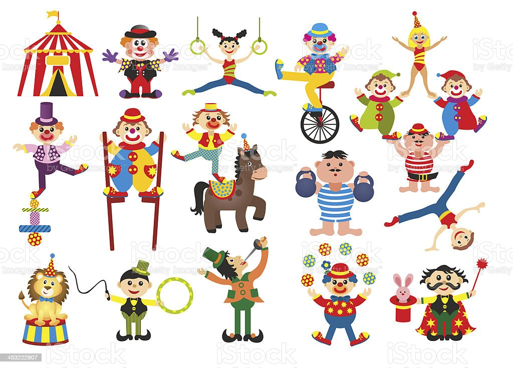 set of professions in circus royalty-free stock vector art