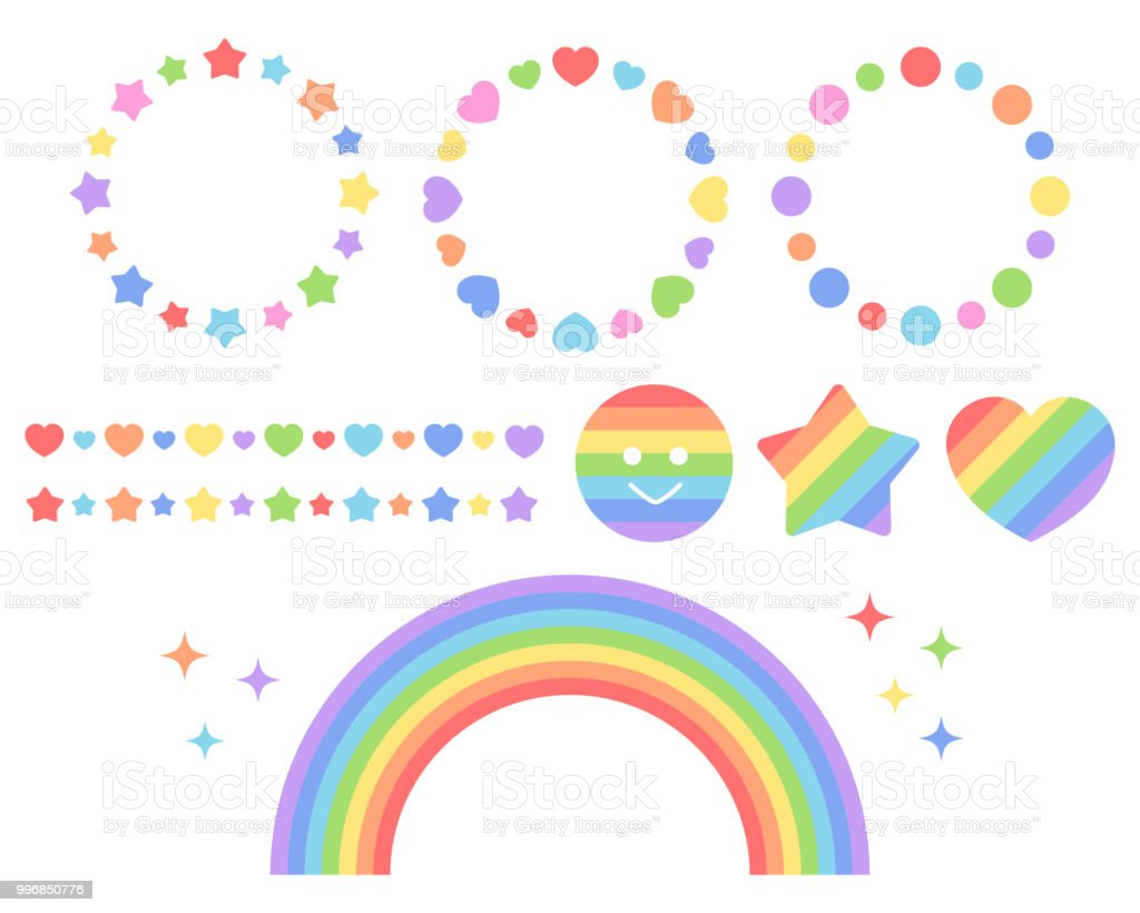 A set of rainbow-colored icon lines vector art illustration