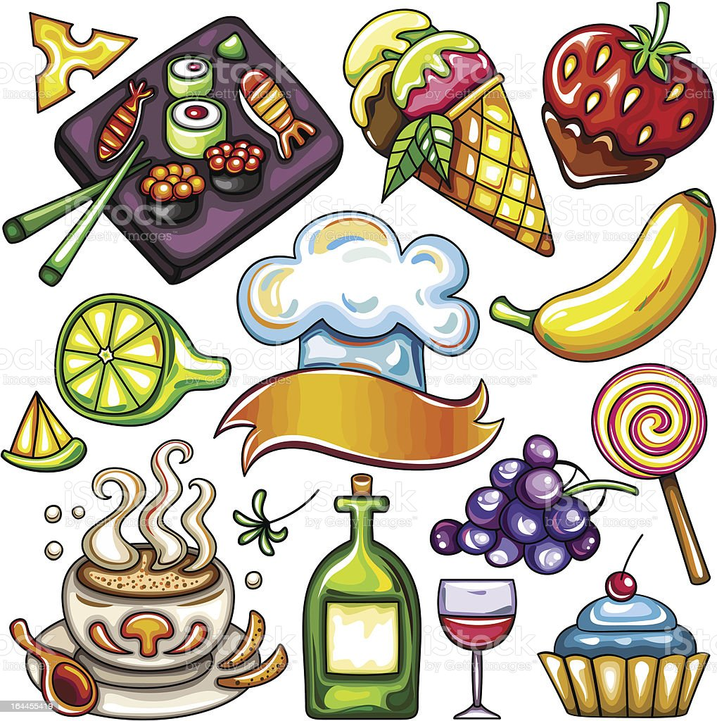 Set of ready-to-eat food icons part 3 vector art illustration