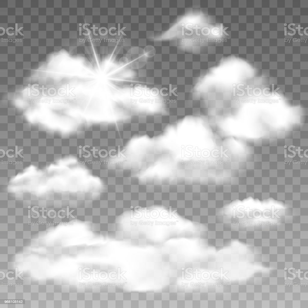 Set Of Realistic Cumulus Clouds Vector Isolated Images On