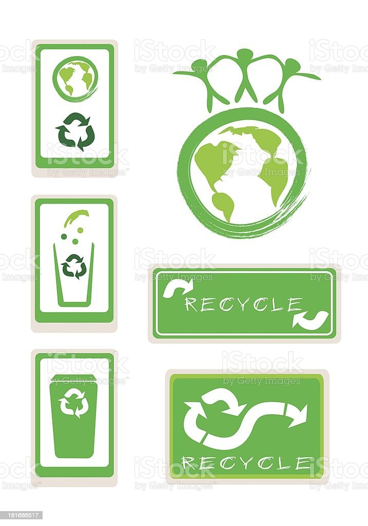 Set of Recycle Sign for Save The World royalty-free stock vector art