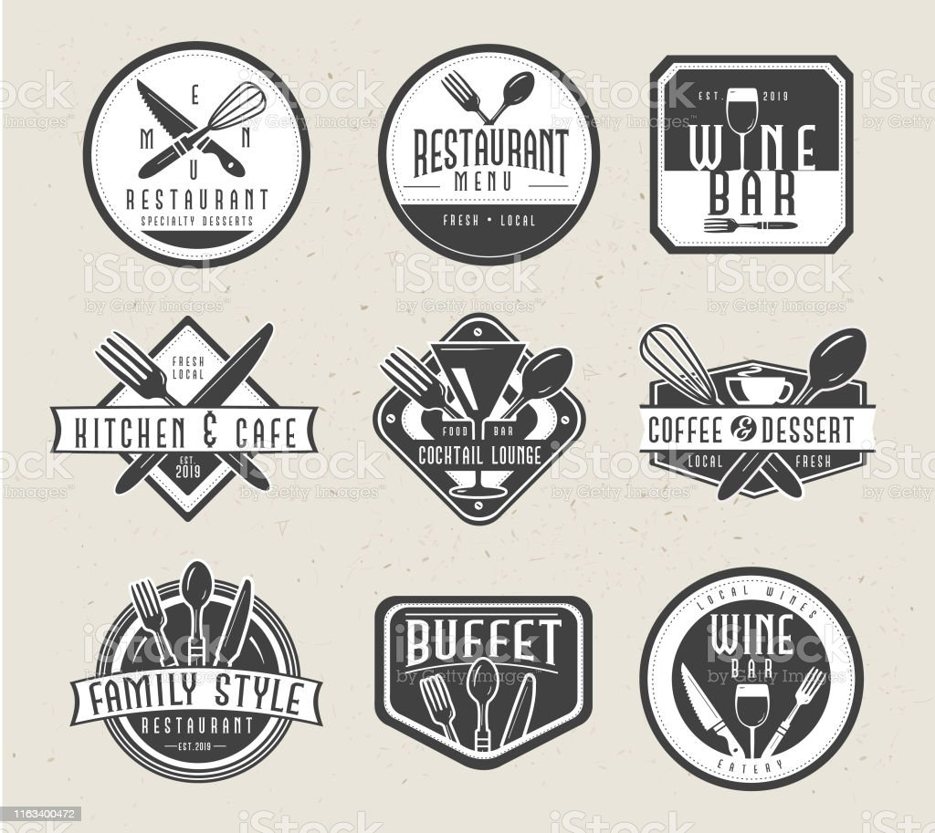 Set Of Restaurant Menu And Bar Labels With Unique Shapes And Text Designs As Well As Utensils And Drinkware Stock Illustration Download Image Now Istock