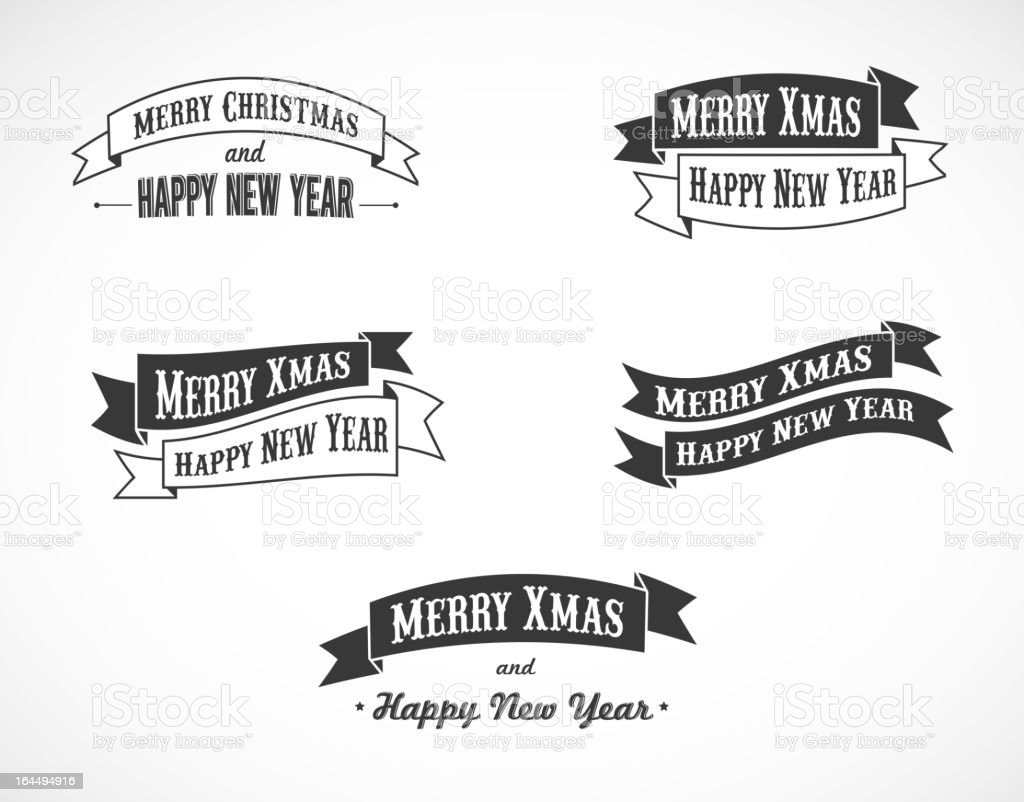 set of retro Christmas background ribbons with text vector art illustration
