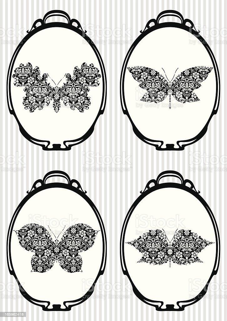 Set of Retro Icons: Autumn Butterflies royalty-free stock vector art