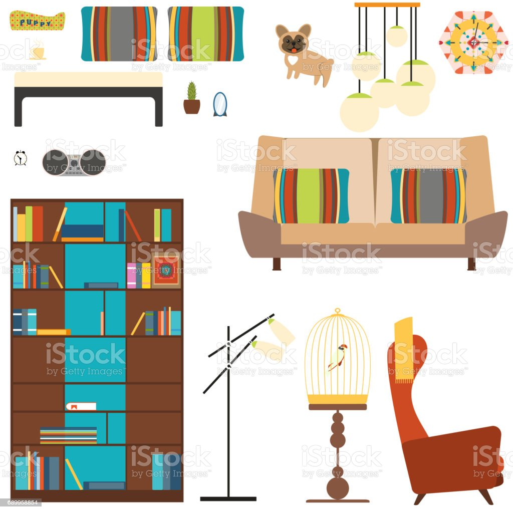 Set Of Room Objects In The Style Of 70s With Bookcase Sofa Armchair ...