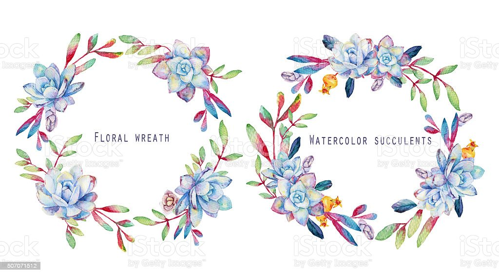 Set Of Round Floral Frames Watercolor Blue Succulents Stock Vector ...
