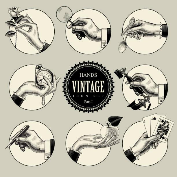Ensemble d'icônes rondes dans le style vintage de gravure avec mains et accessoires - Illustration vectorielle