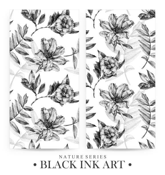 bildbanksillustrationer, clip art samt tecknat material och ikoner med uppsättning sömlösa mönster med prickade blommor, fåglar och växter ritas för hand med svart bläck - amaryllis