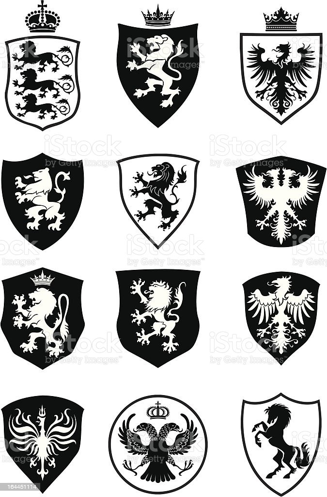 Set of shield heraldry vector art illustration