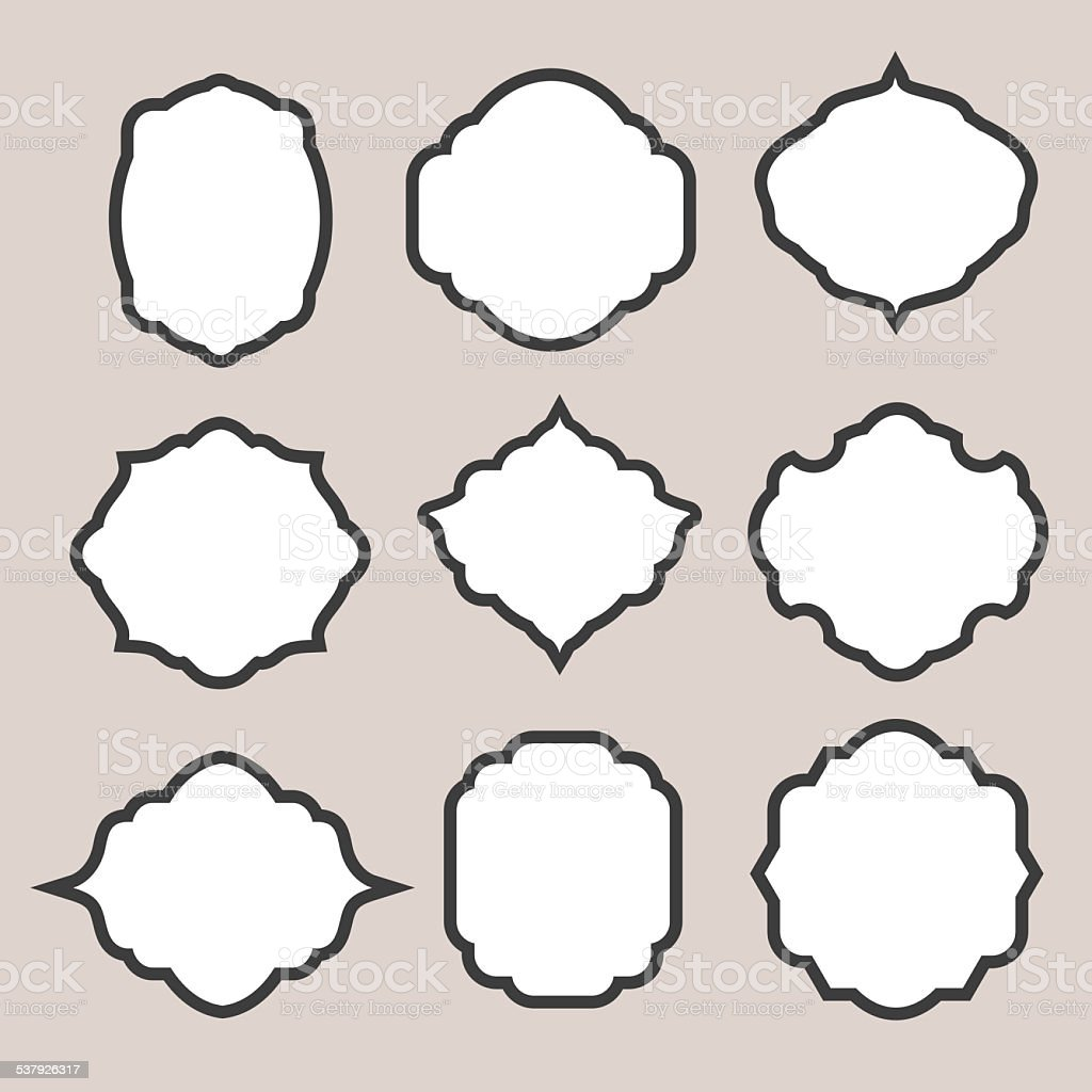 Set of   silhouette frames or cartouches for badges vector art illustration