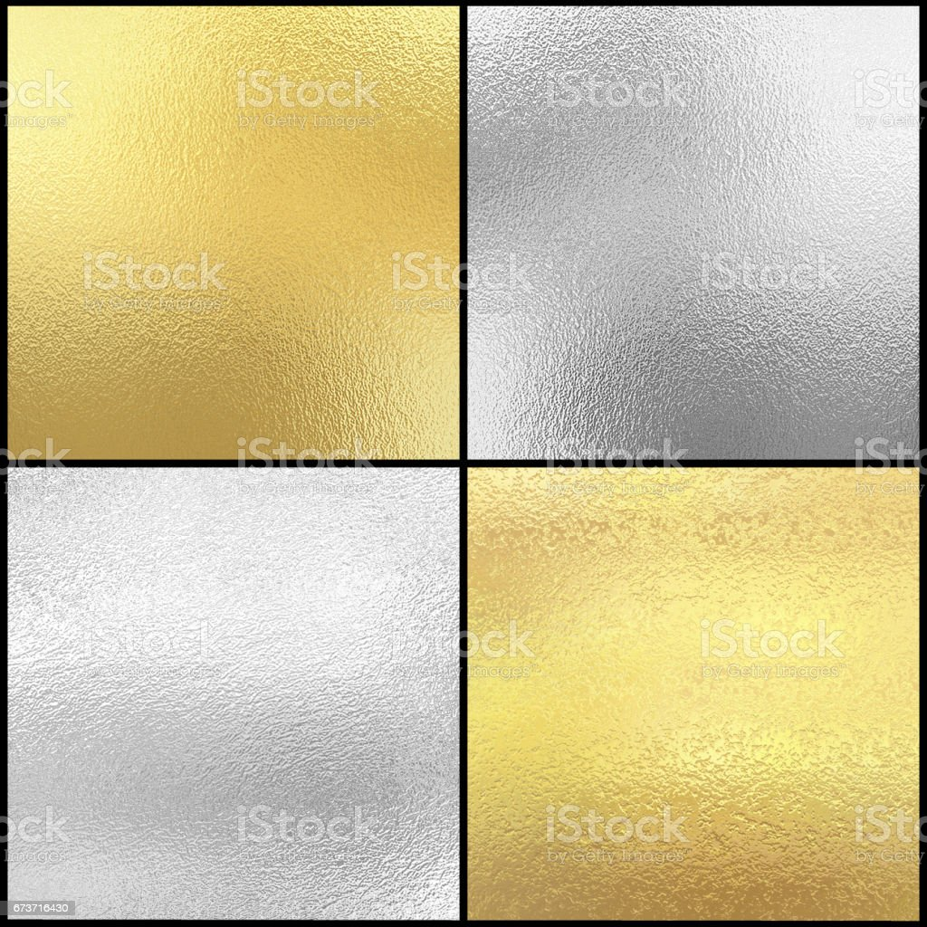 Set of Silver and gold foil texture background vector art illustration