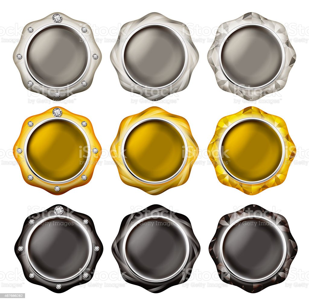 Set of silver, gold and black jewelry buttons vector art illustration