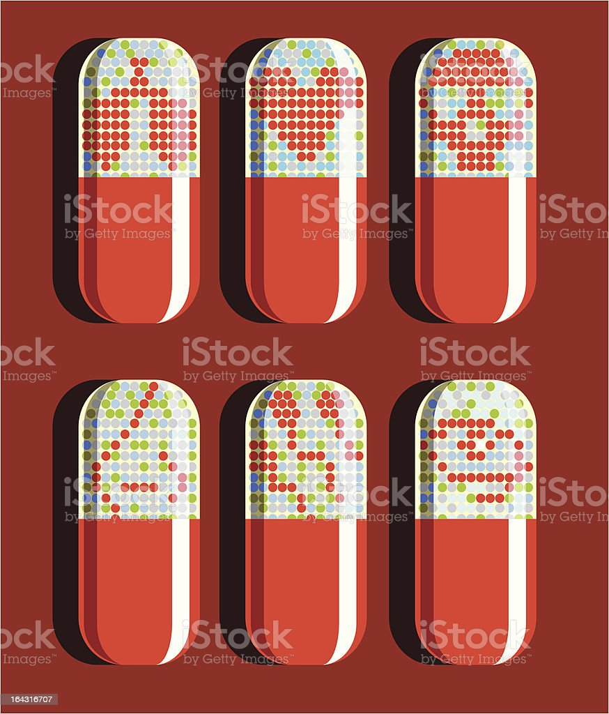 Set of six pills vector art illustration