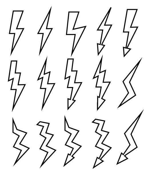 Set of Sketch Thunder Lighting Icons. Set of Thunder Lighting Icons on white background . Illustration forked lightning stock illustrations