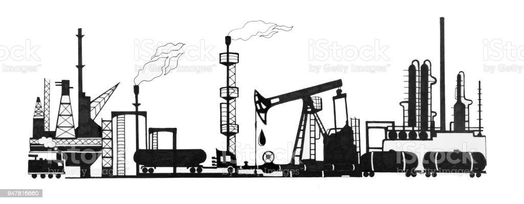 Ilustrao de um conjunto de esboos de produo de petrleo um conjunto de esboos de produo de petrleo infraestrutura de minerao ilustrao de um ccuart Gallery